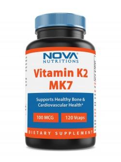 Nova Nutritions Vitamin K2 MK7 100 mcg 120 Veggie Capsules